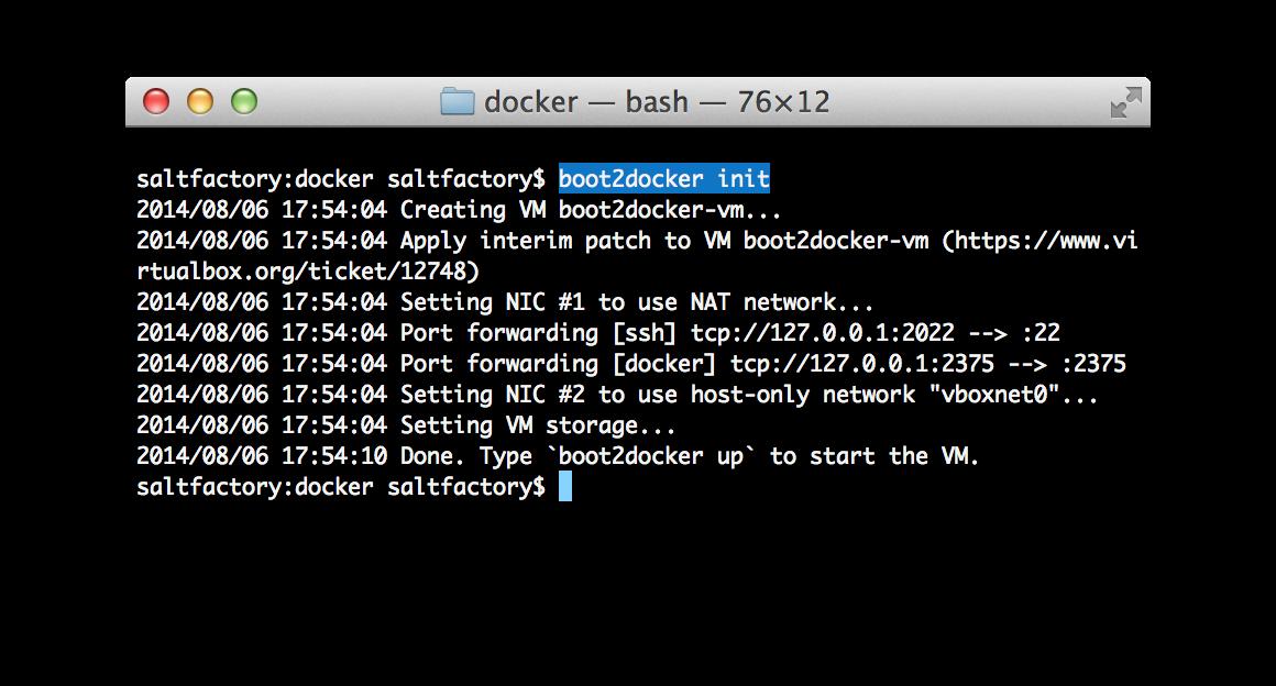 boot2docker init