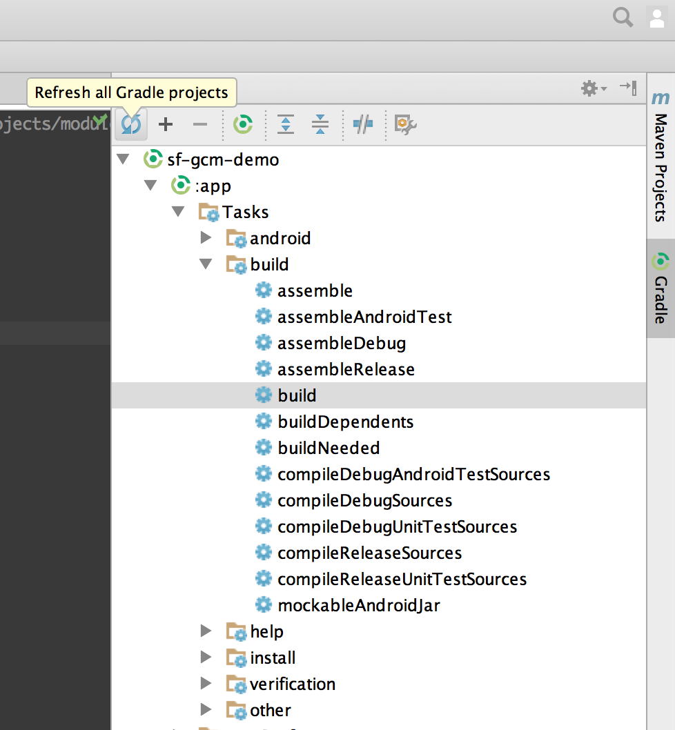Android Studio gradle fresh button