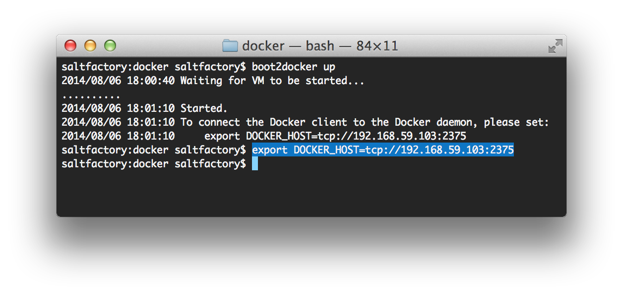 export DOCKER_HOST