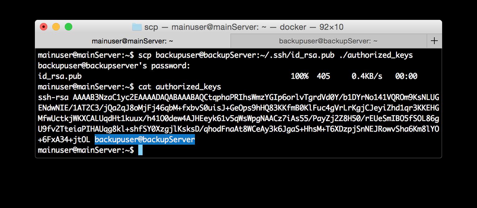 copy backupserver id_rsa.pub