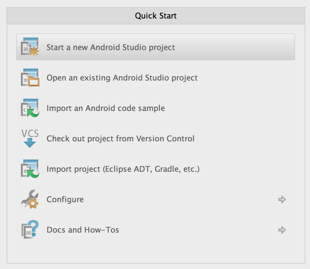 Start New Android Studio