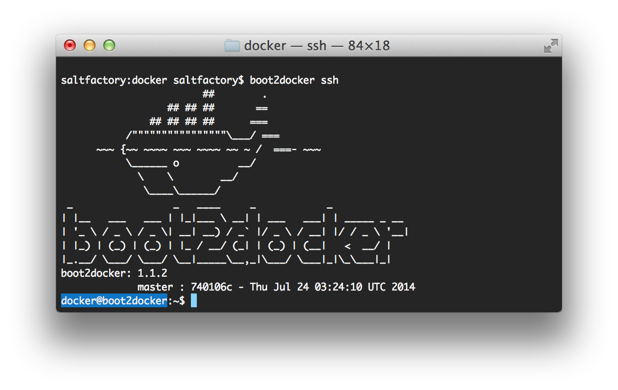 boot2docker ssh
