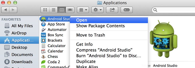 manual open android studio